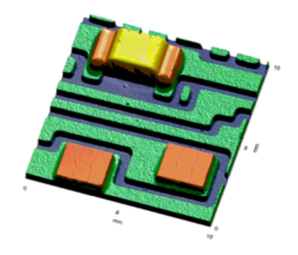 <p>3D FRT Model generated of an assembled SMD device, showing both surface texture and larger-scale components.</p> <h6>From: Danfoss Silicon Power GmbH</h6>
