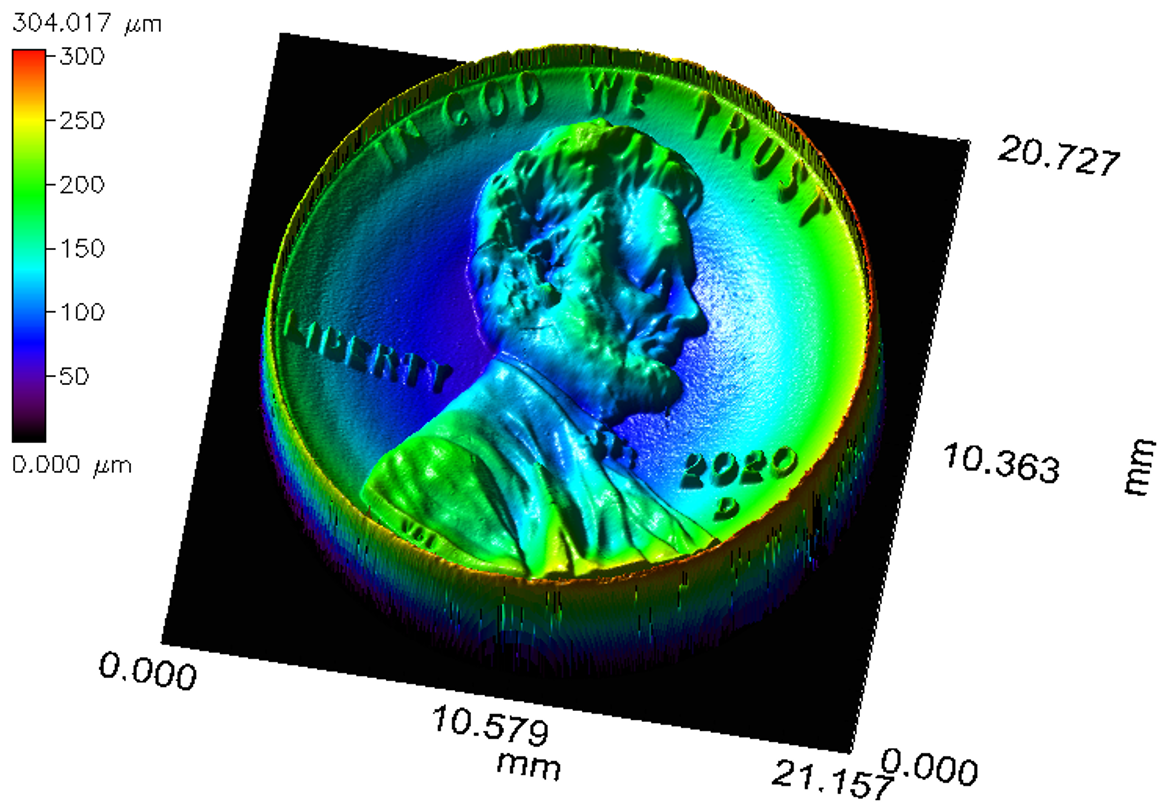 <p>3D surface map of a US 1 cent coin showing overall concave shape as well as topography of individual surface features</p>