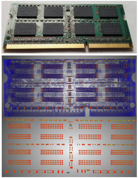 <p>Micro-CT images from a common SD card (photograph at <em>top</em>), showing reconstructed solder points and internal vias (<em>bottom</em>)</p>