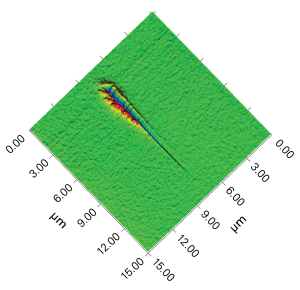 <p>3D Image of Nano-Scratch on moderately soft film. Rupture of film at low-load indicates susceptibility to failure</p> <h6>From: Bruker</h6>