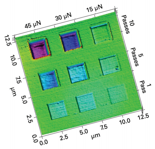<p>Wear Image captured of a variety of wear-box volumes on a diamond-like carbon (DLC) coating deposited on a CPU hard disk drive</p> <h6>From: Bruker</h6>