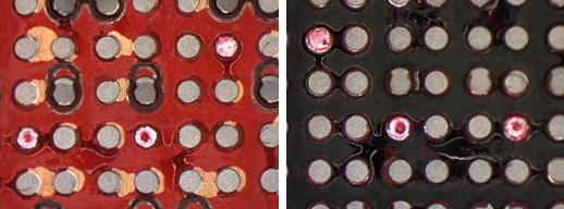 "<p>Board side (<em>Left</em>) and component side (<em>Right</em>) showing 3 solder joints with a smooth dome marked by red dye, indicating ""Head in Pillow"" defects. These (non-continuous) solder joints are Defects per <strong>IPC-A-610G, section 8.3.12</strong>.</p>"