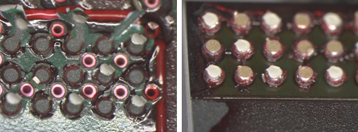 <p>Board side (Left) and component side (Right) showing no pre-existing cracks or other separations. The dye adheres to the solder balls and the solder mask windows in the board but does not penetrate the joints. These BGA solder joints are Acceptable from Dye & Pry per <strong>IPC-A-610G, section 8.3.12</strong>.</p>