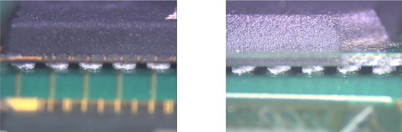 <p>BGA solder joints showing acceptable solder ball size, shape, and spacing per <strong>IPC-A-610G, sec 8.3.12</strong> for all three classes of product.</p>