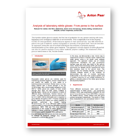 Analysis of laboratory nitrile gloves: From pores to the surface