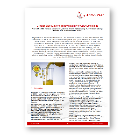 Application Note: Droplet Size Matters: Bioavailability of CBD Emulsions