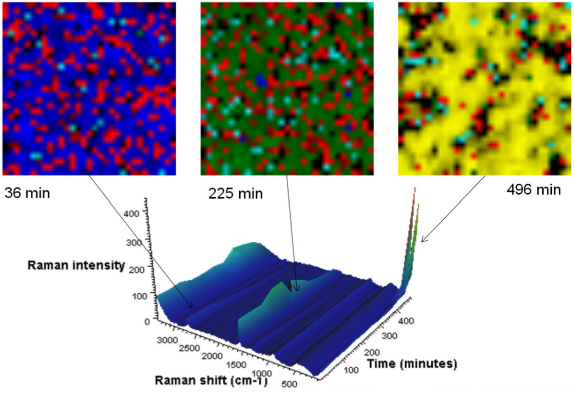 <p>Raman images are presented in which the image contrast is generated by multivariate curve resolution (MCR) analysis. In this case, MCR finds the differences not only within each image but also across the entire time sequence. A different color is assigned to each resolved component. Each image is from the same 30 µm square portion of the anode. The blue MCR component is indicative of the 1580 cm<sup>-1</sup> band; green the 1590 cm<sup>-1</sup> band; yellow the 154 cm<sup>-1</sup> band; red represents carbon black, a conductivity enhancer.</p> <h6><strong>From: Thermo Scientific Application Note</strong></h6>