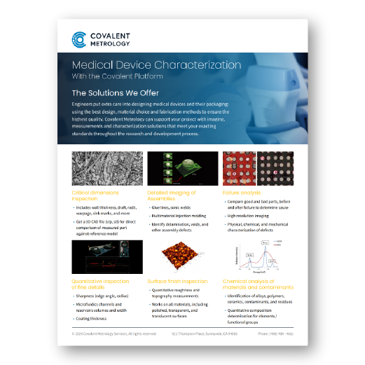 Medical Device Characterization with the Covalent Platform