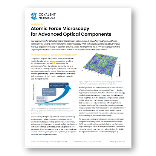 Atomic Force Microscopy for Advanced Optical Components