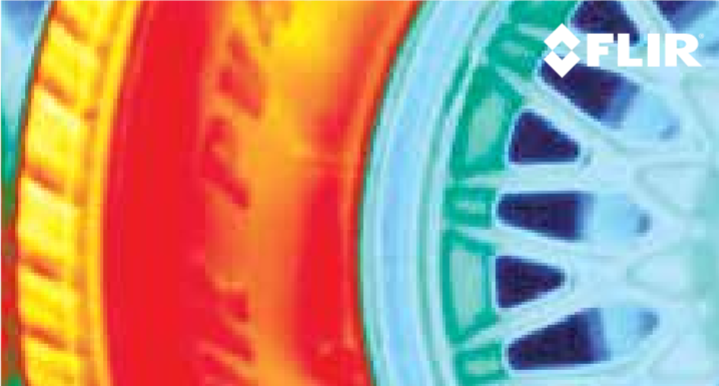 <p>Thermal image captured of a spinning car tire</p> <h6><strong>From:</strong> FLIR</h6>